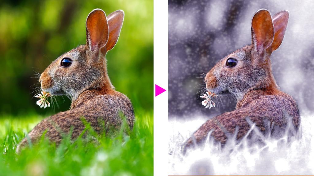 Photoshopで画像に雪を降らせる完成イメージ